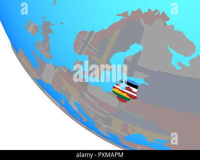 Baltic States with national flags on simple globe. 3D illustration. - Stock Photo