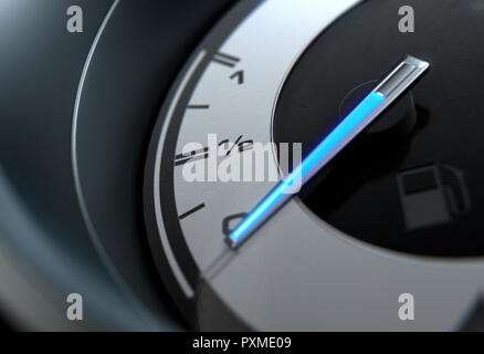 A closeup of a petrol gas gage showing the glowing blue needle at empty on a sporty das background - 3D render - Stock Photo