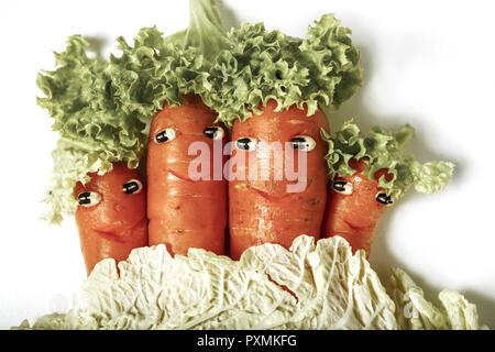 Symbol, Gemuese, Gesicht, Gesichter, Froehlich, Vitamine, Gesund, Grinsen, Moehren, Karotten - Stock Photo