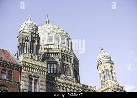 Deutschland, Berlin, Europa, Hauptstadt, Stadt, Sehenswuerdigkeit, Kuppel der neuen Synagoge, Architektur, Aussenaufnahme, Baudenkmal, Baustil, Denkma - Stock Photo