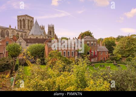 York Minster rises from amongst some buildings with a garden in front. Autumnal trees abound. - Stock Photo