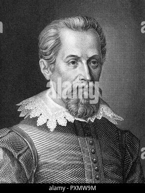 JOHANNES KEPLER (1571-1630) German mathematician and astronomer in a 19th century engraving - Stock Photo