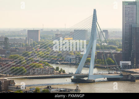 aerial view of the Erasmus bridge on the river Nieuwe Maas in the center of Rotterdam in the Netherlands Holland - Stock Photo