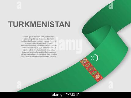 waving flag of Turkmenistan. Template for independence day. vector illustration - Stock Photo