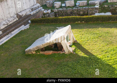 Italy, Brescia - December 24 2017: the view of the ruins of archeological site of Capitolium in Brescia, UNESCO World Heritage Site - Stock Photo