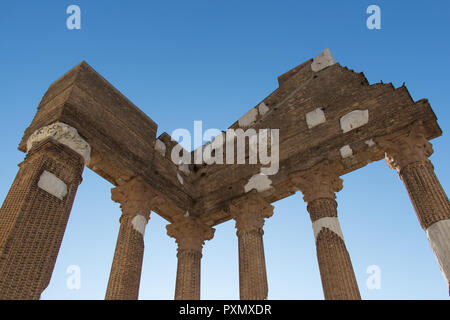 Italy, Brescia - December 24 2017: the view of the fragment of the ancient Roman temple ruins of Capitolium in Brescia, UNESCO World Heritage Site - Stock Photo