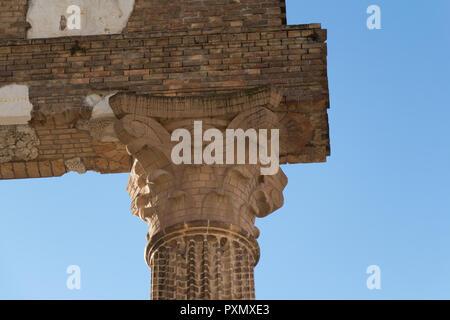 Italy, Brescia - December 24 2017: close up view of the ancient Roman temple ruins of Capitolium in Brescia, UNESCO World Heritage Site - Stock Photo