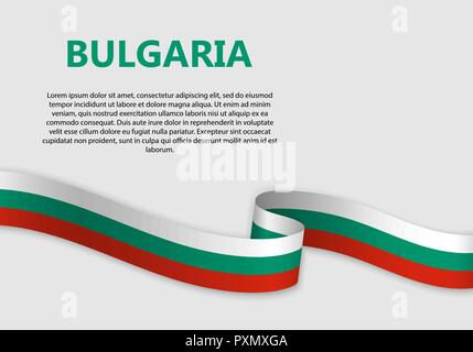 Waving Flag of Bulgaria, vector illustration with copyspace - Stock Photo
