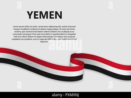 Waving Flag of Yemen, vector illustration with copyspace - Stock Photo
