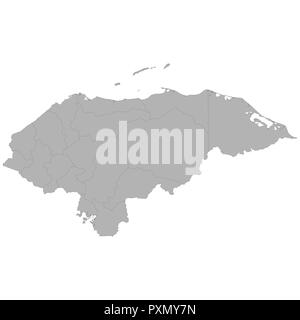 High quality map of Honduras with borders of the regions on white background - Stock Photo