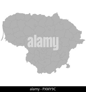 High quality map of Lithuania with borders of the regions on white background - Stock Photo