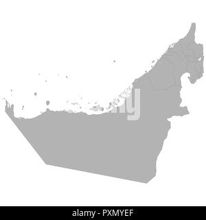 High quality map of United Arab Emirates with borders of the regions on white background - Stock Photo