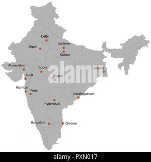 detailed map of the India with cities - Stock Photo