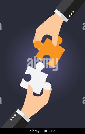 Business people are working together to put two puzzles