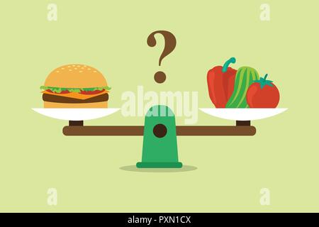 Vegetables and hamburger on scales. Diet and healthy food - Stock Photo