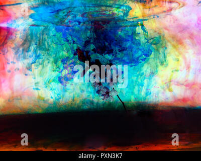 Cherry blossom color fusion with inks in water. Great abstract nature background
