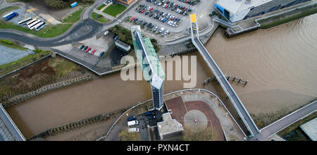 Ariel view of Hull tidal barrier, river Hull - Stock Photo