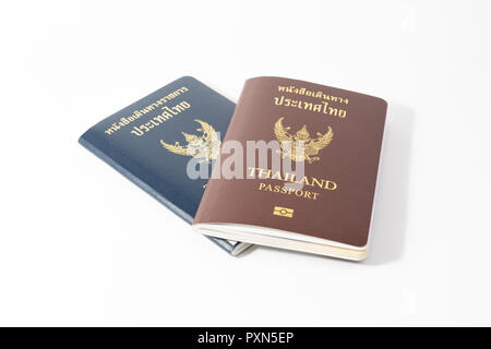 Thailand passport and OFFICIAL passsport isolated on white background. - Stock Photo