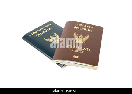 clipping path Thailand passport and OFFICIAL passport isolated on white background. - Stock Photo