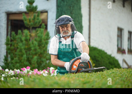 Adult man wearing in green overalls with safety mask and protective headphones landscaping bushes with petrol hedge cutter. Male gardener working with professional equipment and looking at camera. - Stock Photo