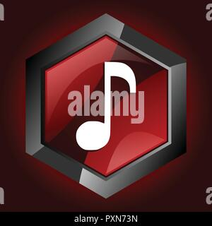 music note melody sound key hexagon dark red vector icon - Stock Photo