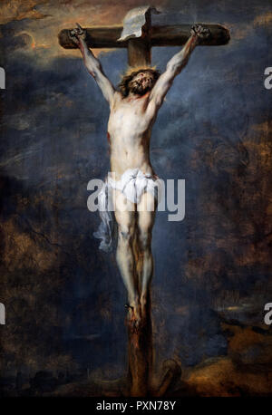 Christ on the Cross by Sir Anthony van Dyck (1599-1641), oil on panel, c.1627 - Stock Photo