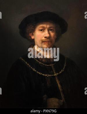Rembrandt. Self-Portrait of Rembrandt van Rijn (1606-1669), oil on panel, 1642-3 - Stock Photo