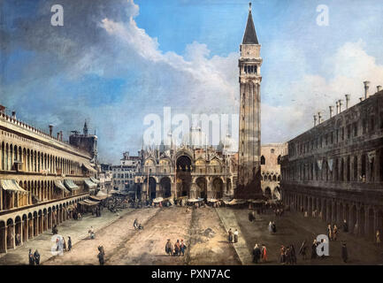 The Piazza San Marco in Venice by Canaletto (Giovanni Antonio Canal - 1697-1768), oil on canvas, c.1723-4 - Stock Photo