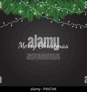 Banner with vector christmas tree branches and space for text. Realistic fir-tree border, frame isolated on white - Stock Photo