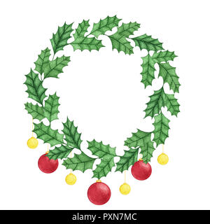 Hand painted christmas holly wreath with balls isolated on the white background. New Year  decoration for holiday cards, labels and banners. - Stock Photo