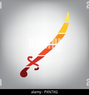 Sword sign illustration. Vector. Horizontally sliced icon with colors from sunny gradient in gray background. - Stock Photo