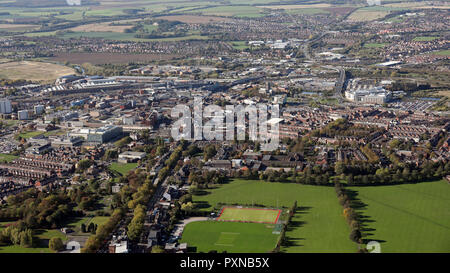aerial view from across Town Fields towards Doncaster town centre, South Yorkshire - Stock Photo