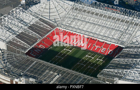 October 2018, aerial view of Manchester United Old Trafford stadium - Stock Photo