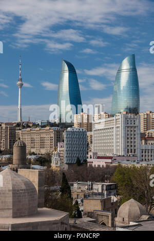 Azerbaijan, Baku, high angle view of Baku Television Tower and Flame Towers - Stock Photo