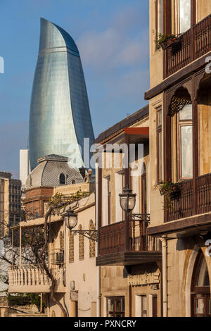 Azerbaijan, Baku, Old City and Flame Towers - Stock Photo
