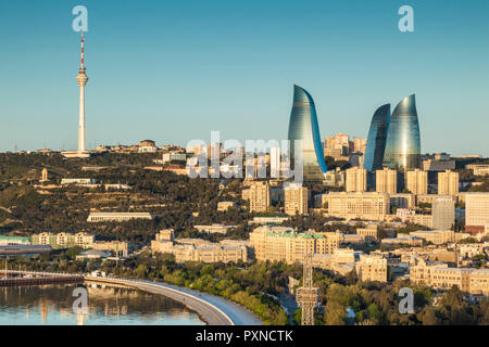 Azerbaijan, Baku, high angle city skyline, from the north - Stock Photo