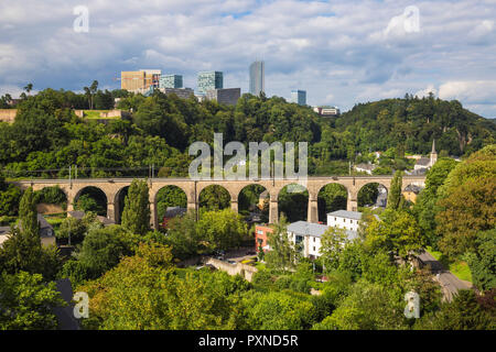 Luxembourg, Luxembourg City, View of Pfaffenthal train viaduct and Kirchberg plateau - Stock Photo