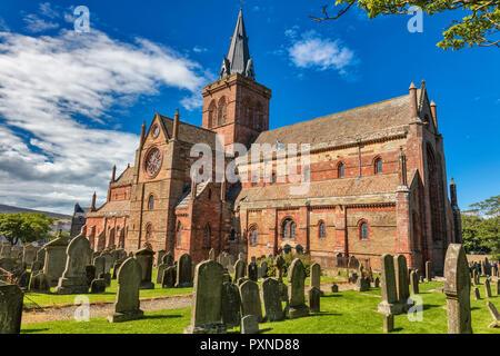 St. Magnus Cathedral, Kirkwall, Mainland, Orkney islands, Scotland, UK - Stock Photo