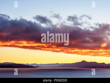 Nahuel Huapi Lake at sunrise, San Carlos de Bariloche, Nahuel Huapi National Park, Rio Negro Province, Argentina - Stock Photo
