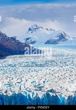 Perito Moreno Glacier, elevated view, Los Glaciares National Park, Santa Cruz Province, Patagonia, Argentina - Stock Photo