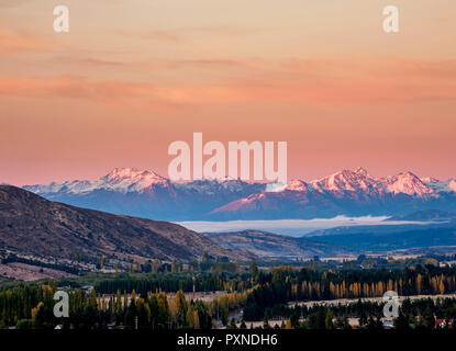 Esquel at sunrise, elevated view, Chubut Province, Patagonia, Argentina - Stock Photo