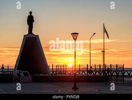 Monument to the Welsh Settlers at sunrise, Puerto Madryn, The Welsh Settlement, Chubut Province, Patagonia, Argentina - Stock Photo
