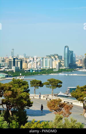 Baku and the Caspian Sea seen from Dagustu Park. Azerbaijan - Stock Photo