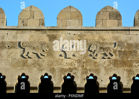 Detail of the Double City Gates (Qosa qala Qapisi) dating back to the 12th century, the main entrance to the old city, a Unesco World Heritage Site. Baku, Azerbaijan - Stock Photo