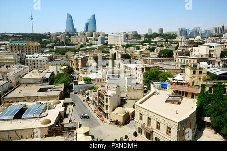 The Old City or Inner City (Icarisahar), the historical core, the most ancient part of Baku, a Unesco World Heritage Site. Azerbaijan - Stock Photo