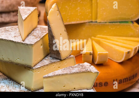 Cheese stall  in the Borough Market, Southwark, London, England - Stock Photo