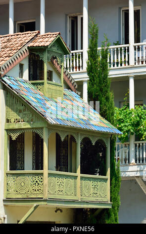 Traditional houses. Old town of Tbilisi, Georgia. Caucasus - Stock Photo