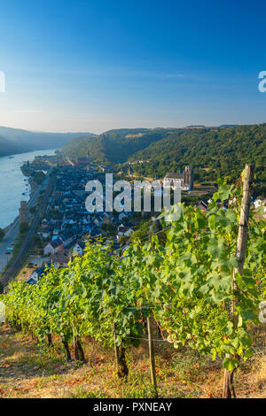 View of Oberwesel and River Rhine, Rhineland-Palatinate, Germany - Stock Photo