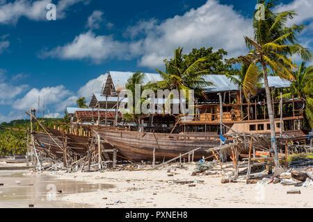 Schooner shipyard, Bira, Sulawesi, Indonesia - Stock Photo