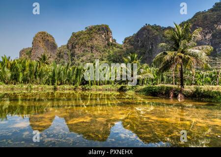 Karst Mountain landscape, Ramang Ramang, Sulawesi, Indonesia - Stock Photo